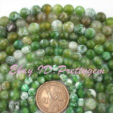 "Round Faceted Cracked Green Fire Agate Gemstone Beads Strand 15"" 6,8,10,12mm"