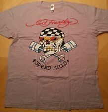 MEN'S ED HARDY BY CHRISTIAN AUDIGIER 'SPEED KILLS SKULL' T-SHIRT LIGHT PURPLE