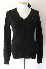 NWT Ralph Lauren Sport Womens Polo Black Cableknit V Neck Sweater Pink Pony Logo