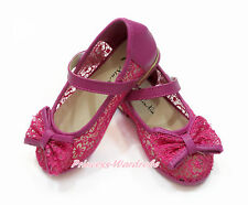 Hot Pink Lace Flower See Through Bow Kids Girl Mary Jane School Dance Shoes 002