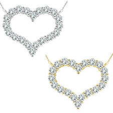 1 Carat G-H SI3-I1 Diamond Heart Charm 14K White/Yellow Gold Necklace 18 Chain