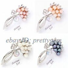 4-6mm Natural Freshwater Pearl Gemstone White Gold Plated Brooch Pins 1 Pcs
