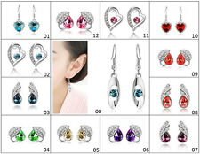 Genuine Charming Womens White Gold Filled 9K AAA CZ Crystal Earring Studs Gift