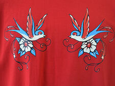 Swallows tattoo punk mens red four colour short sleeved t shirt L-  XL size