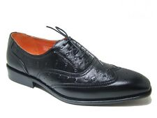 Mens Dress Shoes Lace up Oxfords Wingtip Leather Lined Faux Ostrich Skin Upper