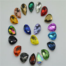 100 PCS 13mm x 18mm Glass Color Tear Drop Faceted Glass Jewels
