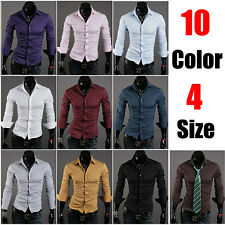 10 Color  Fashion Long Sleeves  design Casual Mens Slim Collection  Dress Shirts