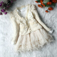 Baby Girl Tutu Lace Dress Pearl Flower Jacket Cardigan Top +Dress Kid Outfit