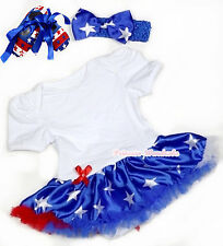 4th July Independence Day White Bodysuit Patriotic Star Skirt Baby Dress NB-12M