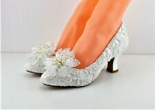 Ivory Vintage Lace Bridal Shoes Matching Bag with Kiwi Trim 6.2cm Cuban Heel
