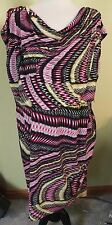 NWT Alfani Woman Pink Black wavy Ikat print blouson drape neck knit dress 16 XL