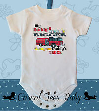 My Daddy's Firetruck is Bigger Than Yours Baby Bodysuit for Baby or Toddler Tee