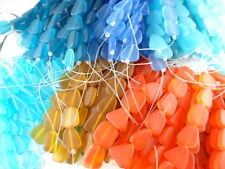 2 Strands Sea Glass Flat Small Nugget Beads You Pick Color