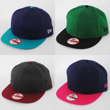 NEW ERA 9fifty TWO TONE PLAIN FLAT PEAK SNAPBACK SNAP BACK BASEBALL CAP