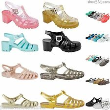 New Women Summer Retro Jelly Slingback  Sandals Buckle Strappy Block Heel Shoes