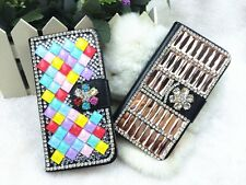 Bling Crystal Diamond Rhinestone Flip Wallet PU Leather Case For Various Phone