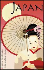 Lady Girl With Umbrella Japan Japanese Tourism Vintage Poster Repro FREE S/H