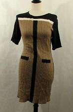 NWT Tahari by ASL Jenlee Tan Black short sleeve colorblock sweater dress LP PL
