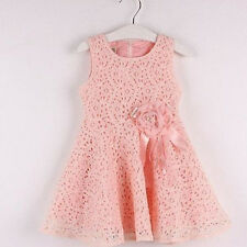 2-7 Year Baby Girls Dresses One Piece Lace Floral Toddler Infants Princess Dress