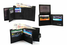 Mens Classic high Quality Black Leather Wallet collection 3 styles Corder London