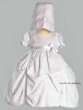 Girls White Christening Baptism Gown Polycotton Jacquard Gathered 0-18M Olivia