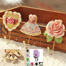 Wall Mounted Vintage Rose Hat Coat Robe Hook Door Bathroom Towel Clothes Hanger