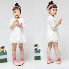 Kids Sweet Girl Sets Baby Dress Clothing Floral Flower Lace Party Skirt 2-7Y
