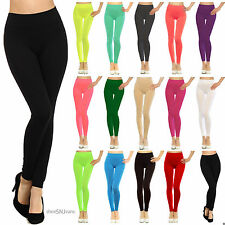New Solid Color Plain Stretch Lined Jegging Spandex Soft Mid-Rise Waist Leggings