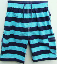 CHAINSTORE BOYS BLUE NAVY STRIPED SWIMMING BOARD SHORTS 12-18 MTHS to 12 YRS NEW