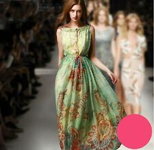 Celebrity Womens Sleeveless Vintage Flower Printed Swing Long Summer Party Dress