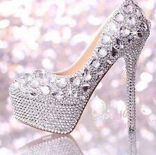 Women's Glitter Crystal Ornate Platform High Heels Wedding Evening Party Shoes