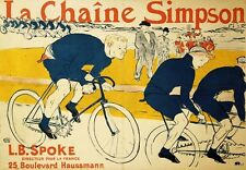 "HIGHLY DESIRABLE CANVAS PRINT ""The Simpson Chain"" CYCLIST race TOULOUSE-LAUTREC"