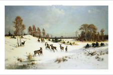 """Julius Arthur Thiele """"Deer in a Wooded Winter Landscape"""" snow sunny ON CANVAS"""