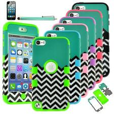 iPod Touch 6/ 5th Gen HARD SOFT RUBBER HIGH IMPACT ARMOR CASE Waves HYBRID COVER