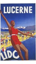 """""""Lucerne Lido"""" NEW CANVAS PRINT of classic POSTER! choose your SIZE, 55cm up"""