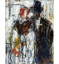 CHRISTIAN ROHLFS Man and Woman COUPLE together flower hats NEW CANVAS PRINT!!!