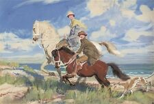 """SPENCER WATSON """"Hilda and Mary"""" HORSERIDING mother daughter dog wind sea CANVAS"""