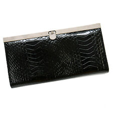 New Ladies Womens Croc Effect Patent Black Silver Clutch Purse Evening Bag