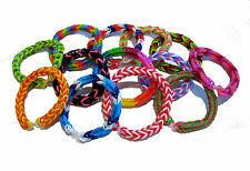 Colourful Elasticated FISHTAIL Band Friendship Ready Made Loom Bracelet Rainbow