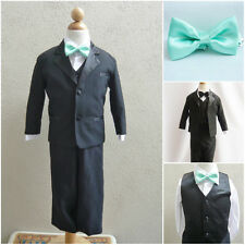 Black boy formal suit with mint/meadow green bow tie wedding party graduation