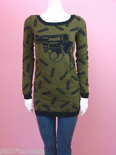 Betsey johnson Goth Guns Knit Tunic Show Sweater Gun Bullet Olive Green S M L