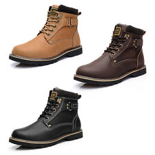 Men's Lace Up Leather Steel Warm Waterproof Winter Snow Army Fashion Boots Shoes