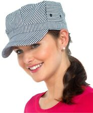RJM Cotton Striped Cap Peaked Hat with Buckle