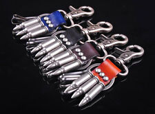 Lot C32 COOL Men's Army Bullets Leather Key Rings Holders Keychain Black Brown