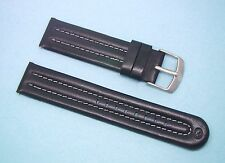 17mm, 20mm Black Genuine Leather WR Watch Band with White Contrast Top Stitching