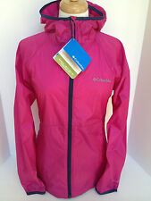 New Columbia womens Omni Shield water repellent hooded rain jacket coat Pink