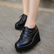 Stylish Womens Wedge Platform Sneaker Round Toe Lace Up Heels Ankle Boots Pumps