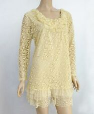 "PRETTY ANGEL PLUS Queen size ""Ali"" Vintage Bottom Lace Tunic Victorian Caramel"