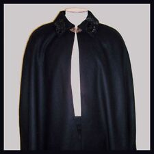 Black 100% Wool Victorian Gentleman's 32 inch Long Cape Sequin Beading Collar