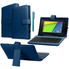 "New Leather Case Stand Cover Micro USB Keyboard Stylus for 7"" Tablet PC Blue"